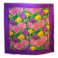 Worthington Purple Violet Pink Floral Silk Scarf Tropical 31 IN Square