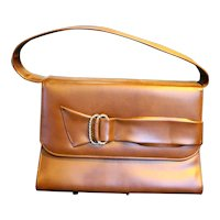 Naturalizer Brown Vinyl Faux Leather Vintage Purse Handbag Decorative Buckle Front