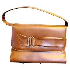 Naturalizer Brown Vinyl Faux Leather Vintage Purse Handbag Decorative Buckle Front