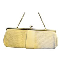 Beige Cream Woven Straw Patent Vinyl Long Clutch Purse