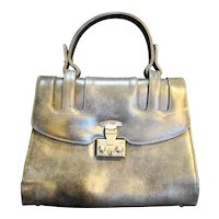 Prestige Grey Marbled Leather  Structured Purse Handbag