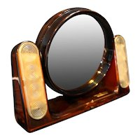 The Looking Glass General Electric Light Magnifying Vanity Mirror Root Beer Lucite 1981