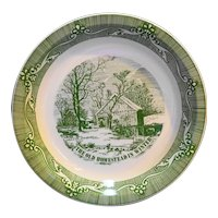 Currier & Ives Green The Old Homestead in Winter Pie Plate