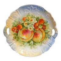 Fruits Transfer Porcelain Cake Plate Germany Blue Lustre Embossed