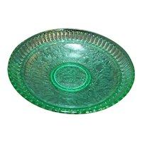Jack Frost Green Uranium Depression Glass Pierced Lattice Rim Textured Brocade Shallow Bowl