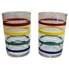 Primary Colors Stripe Rings Juice Tumblers Pair