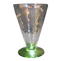 Fostoria 5082 Green Foot Spiral Optic Clear Bowl Footed Tumbler