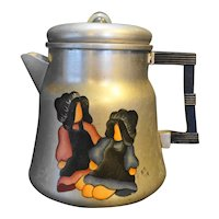 Wear-Ever Aluminum Coffee Pot Hand Painted Folk Art Amish Children