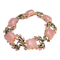 Pink Moonglow Lucite Thermoset Tile Link Bracelet