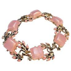 Pink Moonglow Lucite Thermoset Tile Link Bracelet