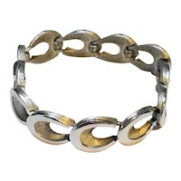 Crown Trifari Brushed Silver Tone Oval Open Links Bracelet