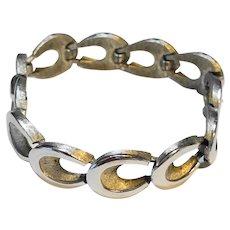 Crown Trifari Brushed Silver Tone Oval Open Links Bracelet