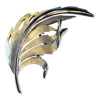 Crown Trifari Brushed Silver Tone Leaf Wing Pin Brooch