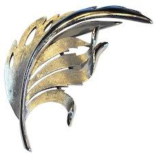 Crown Trifari Brushed Silver Tone Leaf Wing Pin Brooch