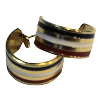 Gold Tone Hoop Earrings Red White Blue Enamel Stripes