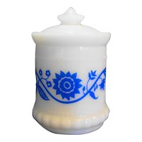 Hazel Atlas Milk Glass Blue Sweetpea Flower Small Mustard Jar
