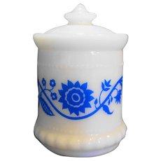 Hazel Atlas Milk Glass Blue Sweetpea Flower Small Mustard Jar