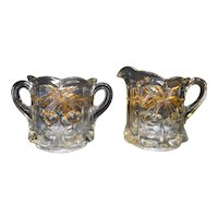 Northwood Cherry & Cable EAPG Gold Creamer Sugar Pair