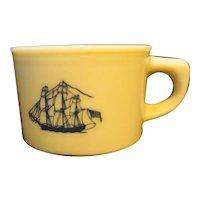 Old Spice Ship Grand Turk Custard Glass Shaving Mug Shulton