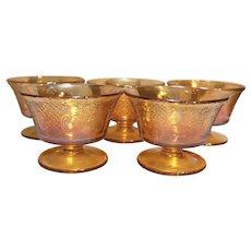 Federal Glass Normandie Bouquet Lattice Sherbets Set of 5 Iridescent Depression