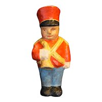 Papier Mache Toy Soldier Band Member Bugler Red Hat Blue Pants