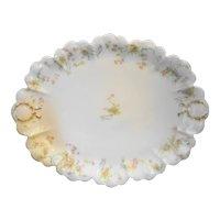 Haviland & Co. Limoges Oval Platter Pink Flowers Gold Wreaths