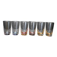 Juice Glasses Set of 6 Blue Purple Yellow Pink