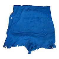 Peacock Blue Viscose Rayon Shawl Scarf Oblong Fringe