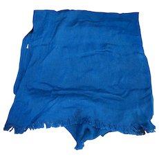 Peacock Blue Viscose Rayon Shawl Scarf Oblong Fringe