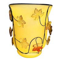 Glass Hurricane Candle Lamp Wired Plastic Autumn Leaves