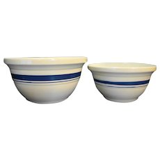 Friendship Pottery Roseville, Ohio Blue Stripe Mixing Bowls Pair