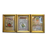 Stoney Creek Seed Packets Cross Stitch Framed Set of 3