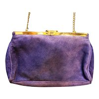Purple Suede Saddle River Clutch Shoulder Bag