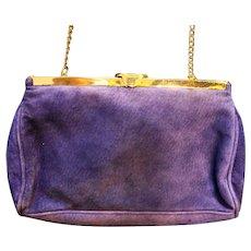 Purple Suede Saddle River Clutch Shoulder Bag