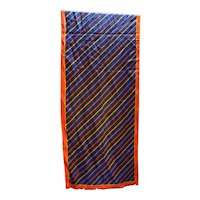 Anne Klein Black Diagonal Stripe Silk Scarf Oblong