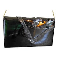 Black Patent Slim Envelope Clutch Convertible Purse