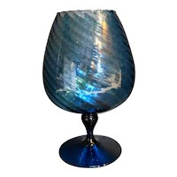 Empoli Italian Art Glass Dark Blue Twist Spiral Optic Compote