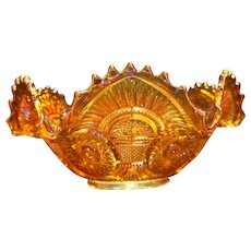 Imperial Twins Marigold Carnival EAPG 9 In Ruffled Bowl