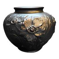 US Glass Tiffin Black Satin Amethyst Poppy Vase