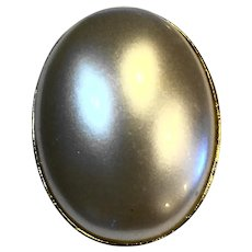 Faux Pearl Large Oval Pin Costume Jewelry