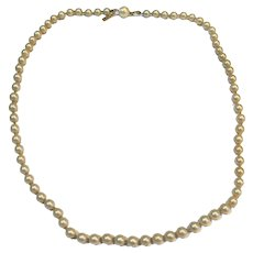"Marvella Faux Pearl Necklace 21"" Single Strand Champagne Cream Color"