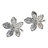 Sarah Coventry Silver Tone Leaf Clip Earrings