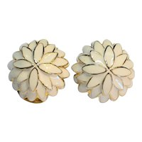 Cream Enamel Chrysanthemum Flower Domed Clip Earrings
