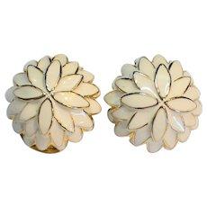 Cream Enamel Chrysanthemum Flower Domed Clip Earrings