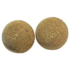 Crown Trifari Gold Tone Coiled Rope Domed Clip Earrings