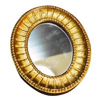 E A Riba New York Small Gold Wood Frame Oval Mirror