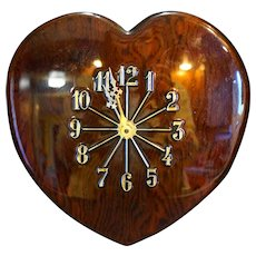 Heart Shaped Wood Wall Clock Folk Art