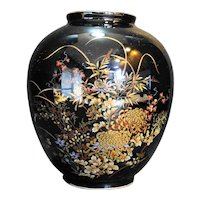 Imperial Kiku Black Floral Vase Japan