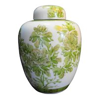 Green Hand Painted Floral Porcelain Ginger Jar Large Made in Japan