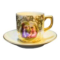 Fragonard Scene Demitasse Cup Saucer Porcelain Mother of Pearl Lustre